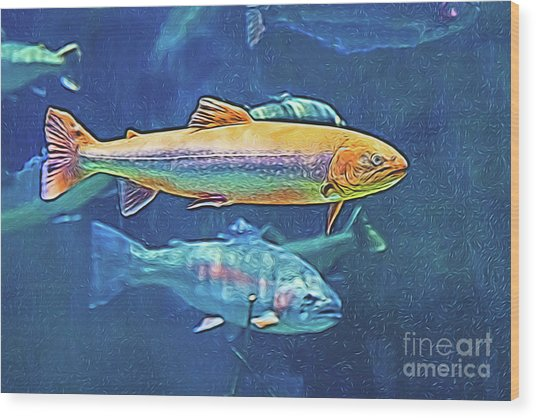 Wood Print featuring the digital art River Trout by Ray Shiu