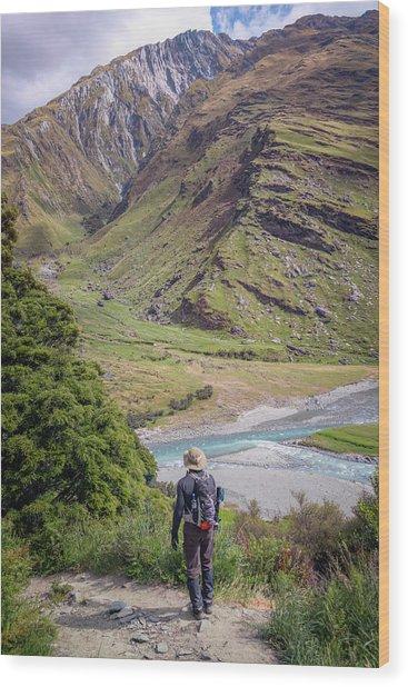 River Valley Overlook New Zealand Wood Print