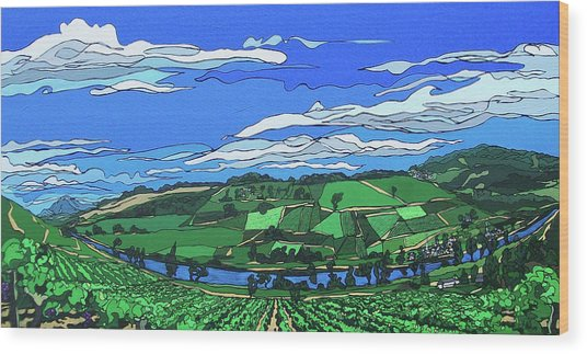 River Valley Vineyard Wood Print