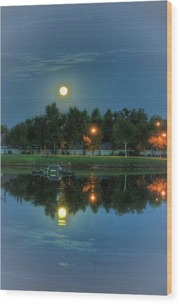 River Walk Park Full Moon Reflection 2 Wood Print