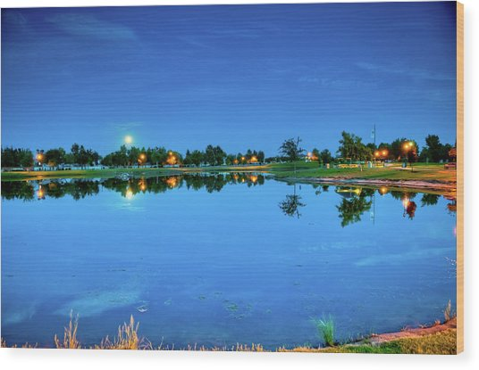 River Walk Park Full Moon Reflection 3 Wood Print
