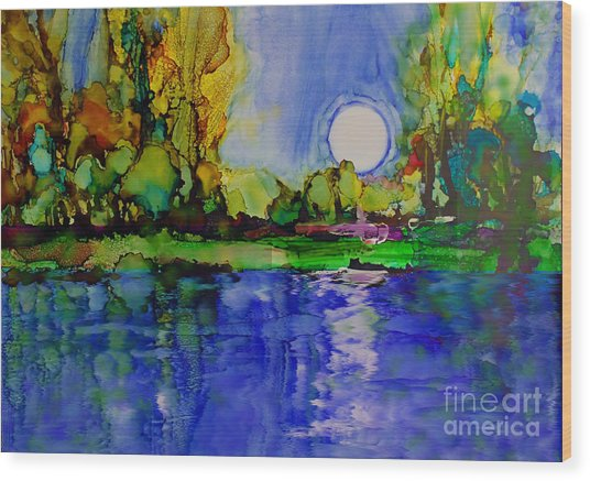 Wood Print featuring the painting River Walk by Priti Lathia