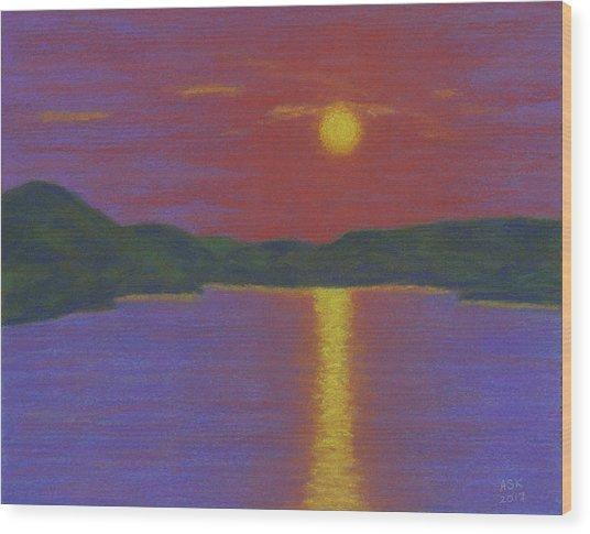 Riverboat Sunset Wood Print