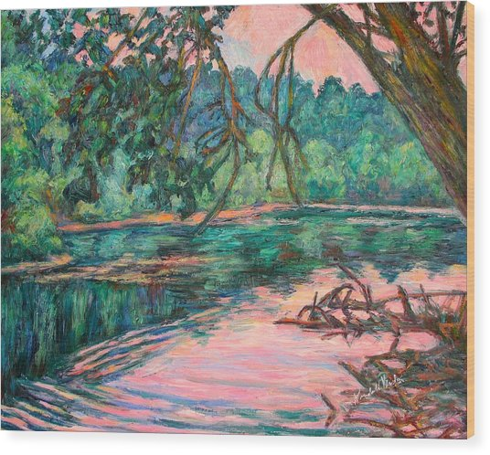 Riverview At Dusk Wood Print