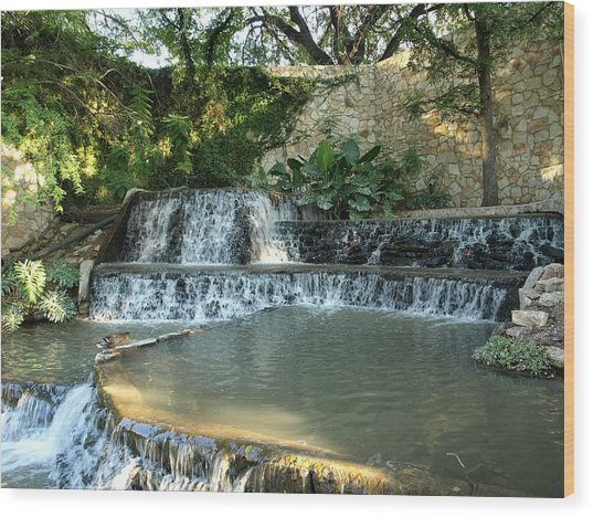 Riverwalk Waterfall Wood Print by Dennis Stein