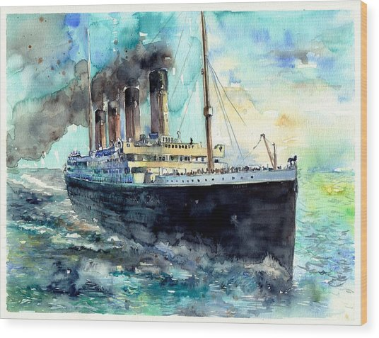 Rms Titanic White Star Line Ship Wood Print
