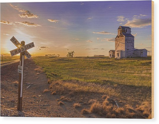 End Of The Day On The Montana Hi Line Wood Print