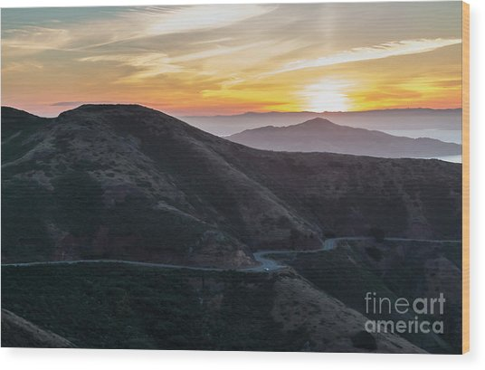 Road On The Edge Of The Mountain With Sunrise In The Background Wood Print