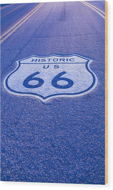 Road Sign Route 66 Wood Print