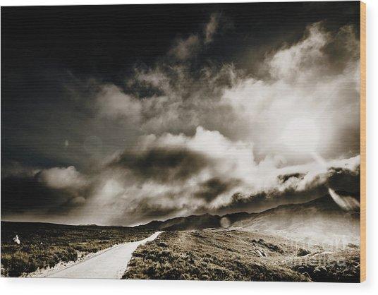 Road Storm Wood Print