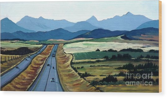 Road To Banff Wood Print