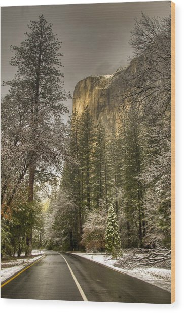 Road To El Capitan After Snow Storm At Sunrise Wood Print