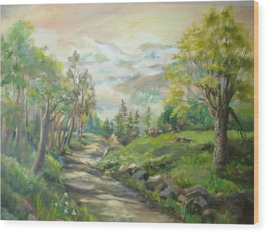 Road To Grandfather Mountain Wood Print by Marilyn Masters