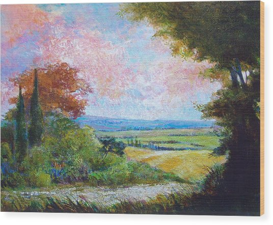 Road To The Fields Wood Print by Dale  Witherow