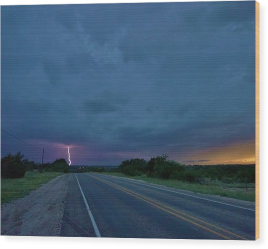 Road To The Storm Wood Print