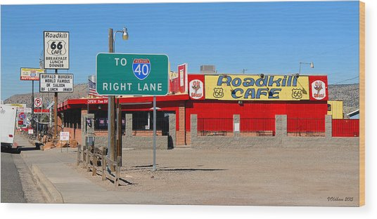 Roadkill Cafe, Route 66, Seligman Arizona Wood Print