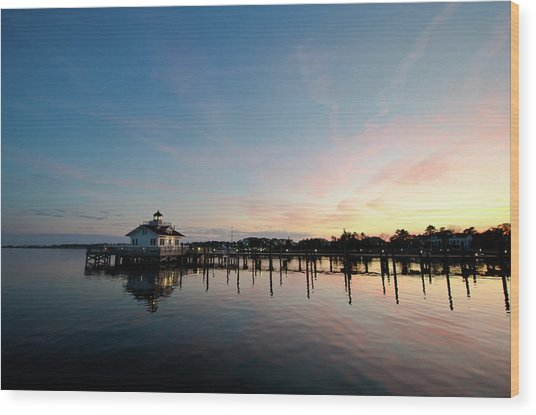 Roanoke Marshes Lighthouse At Dusk Wood Print