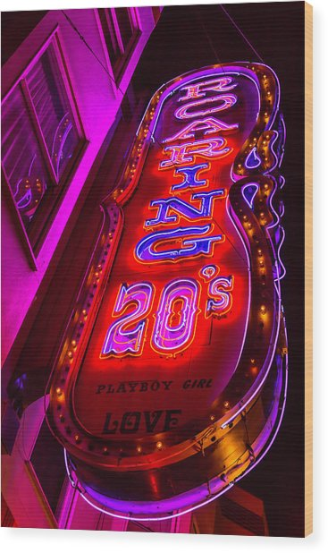 Roaring 20's Neon Wood Print