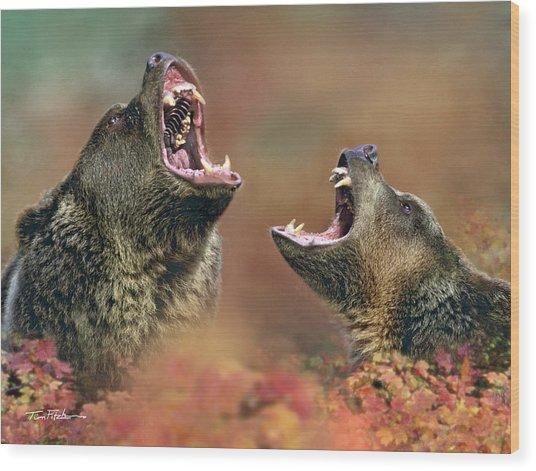 Roaring Bears Wood Print