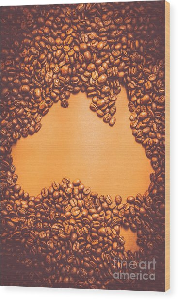 Roasted Australian Coffee Beans Background Wood Print