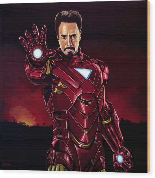 Robert Downey Jr. As Iron Man  Wood Print