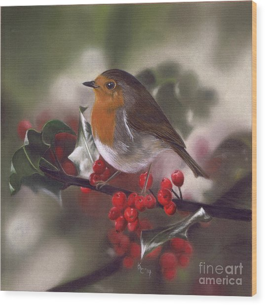 Robin And Berries Wood Print