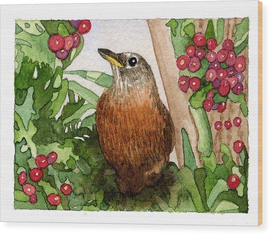Robin Wood Print by Eunice Olson