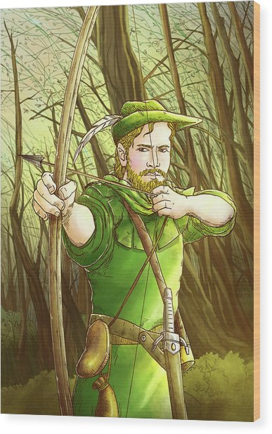 Robin  Hood In Sherwood Forest Wood Print