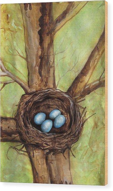 Robin's Nest Wood Print by Carrie Jackson