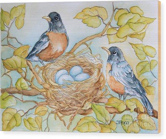 Robins Nest Wood Print