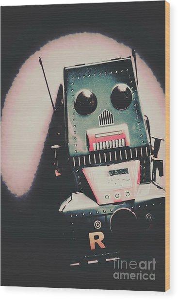Robotic Mech Under Vintage Spotlight Wood Print
