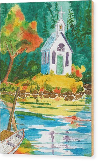 Roche Harbor Chapel Wood Print by Buster Dight