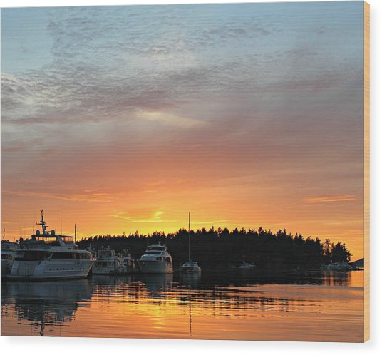 Roche Harbor Sunset Wood Print