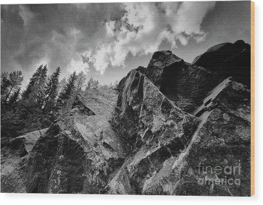 Rock #9542 Bw Version Wood Print