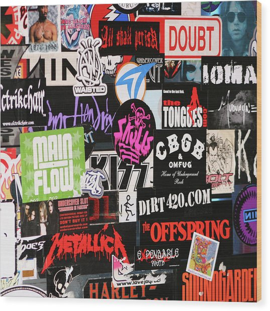 Rock And Roll Stickers Wood Print