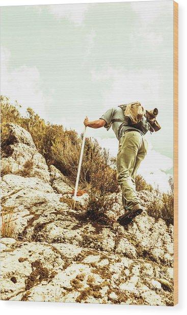 Rock Climbing Mountaineer Wood Print