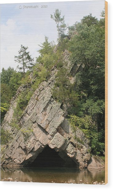 Rock Formation On  The North Fork Of The South Branch Of The Potomac River Wood Print by Carolyn Postelwait