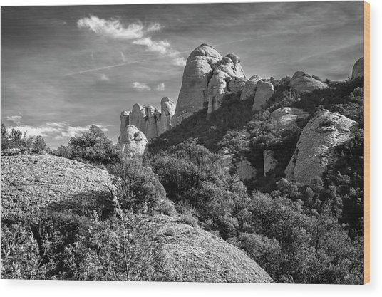 Rock Formations Montserrat Spain II Bw Wood Print