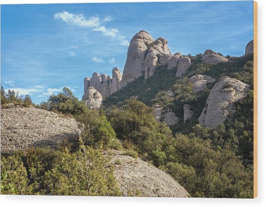 Rock Formations Montserrat Spain II Wood Print