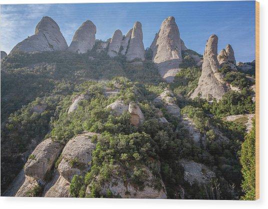 Rock Formations Montserrat Spain Wood Print