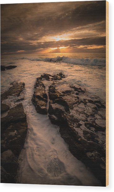 Rock Formations On The Shore Wood Print