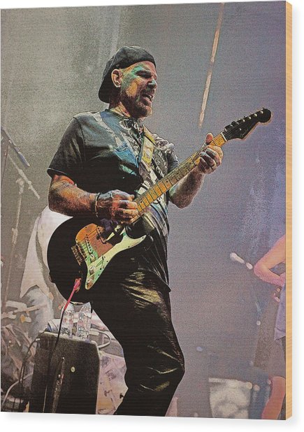 Rock Guitar Player Wood Print