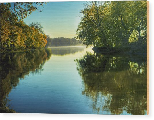 Rock River Autumn Morning Wood Print