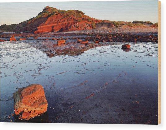 Rock Shelf At Long Reef 1 Wood Print