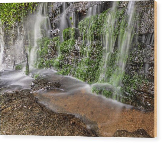 Rock Wall Waterfall Wood Print