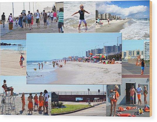 Rockaway Beach And Boardwalk 003 Wood Print