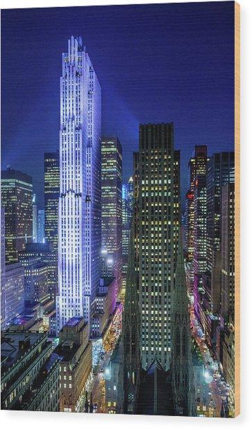 Rockefeller At Night Wood Print