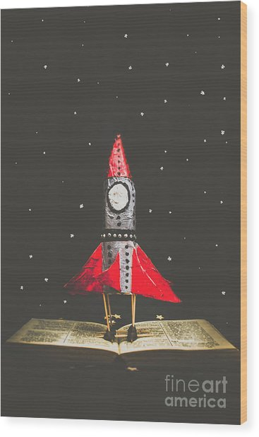 Rockets And Cartoon Puzzle Star Dust Wood Print