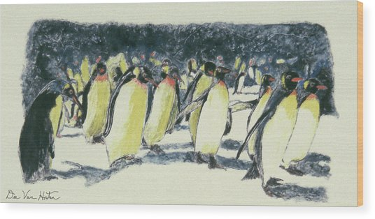 Penguin Rockhoppers Wood Print