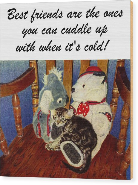 Rocking With Friends - Kitten And Stuffed Animals Painting Wood Print
